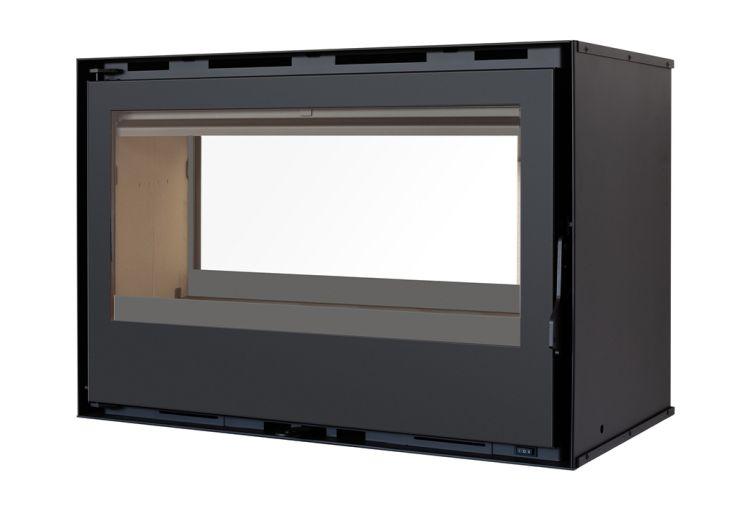 Insert à bois Encastré à Double Face avec 2 Cadres en Acier noir 8 kW - 13 kW C-290DF 2 vitres ventilation 2 vitesses