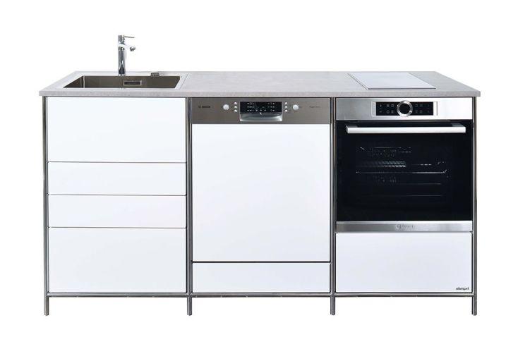 meuble bas de cuisine 190 x 67 x 98,5 en métal à équiper d'un four et LV