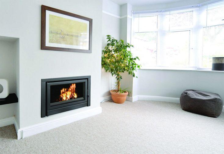Insert pour cheminée en Acier avec Porte Battante et Ventilation C-180 cheminée chauffage hiver 14 kW 140 m2
