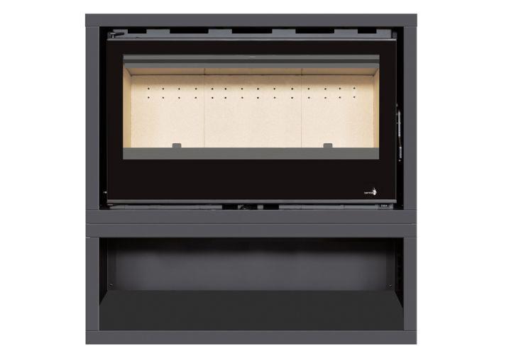 Insert Poêle à Bois en Acier noir 8 kW – 14 kW avec Support SL-290VBOX rangement bûches termofoc