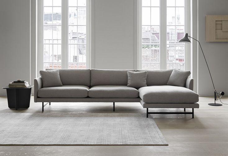 Canapé d'Angle 3 Places en Tissu et Métal 155,5 x 295 x 75,5 cm Calmo chrome mat fredericia