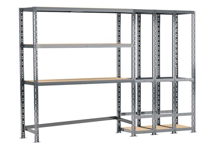 Etagère de Rangement en Acier avec 2 Étagères et 3 Box 255 x 192 cm métallique altona modulo storage systeme extension