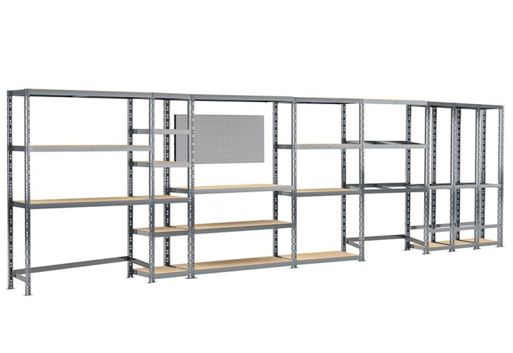rayonnage 6 etageres metalliques 605 cm systeme extension