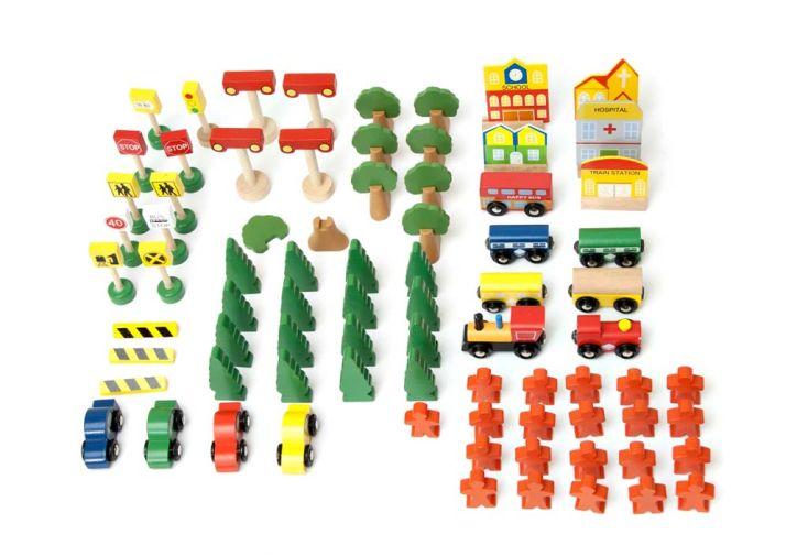 Table d'Activité en Bois Trains et Voitures avec Accessoires