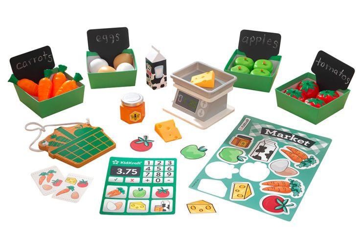 Etal de marché avec fruits et légumes en plastique pour dinette Kidkraft