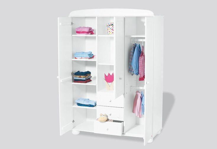 Chambre d'Enfant en Épicéa Blanc Clara : 1 Lit 1 Commode et 1 Armoire