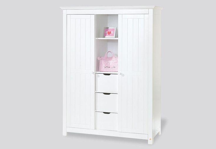 Chambre d 39 enfant en pic a blanc nina 1 lit 1 commode et for Armoire chambre d enfant