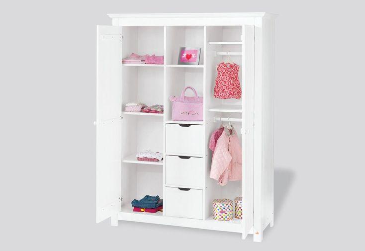Chambre d'Enfant en Épicéa Blanc Nina : 1 Lit 1 Commode et 1 Armoire
