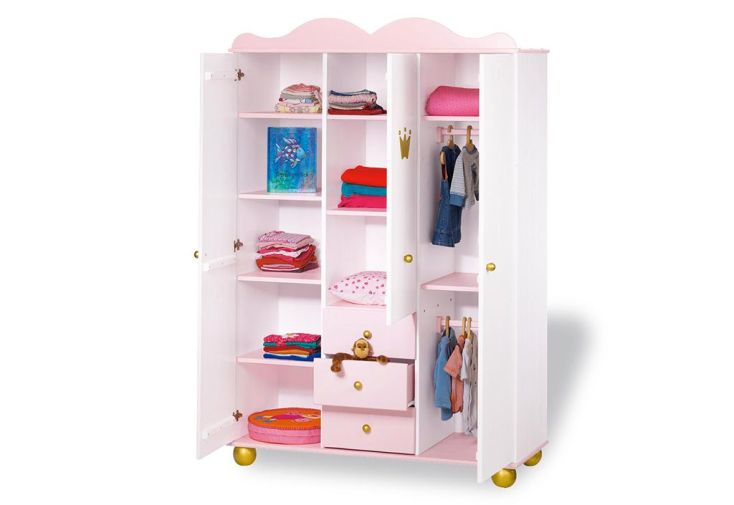 Chambre d'Enfant en Épicéa Princess : 1 Lit 1 Commode et 1 Armoire