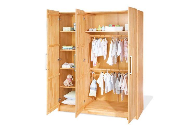 Chambre d 39 enfant en h tre natura 1 lit 1 commode et 1 for Armoire chambre d enfant