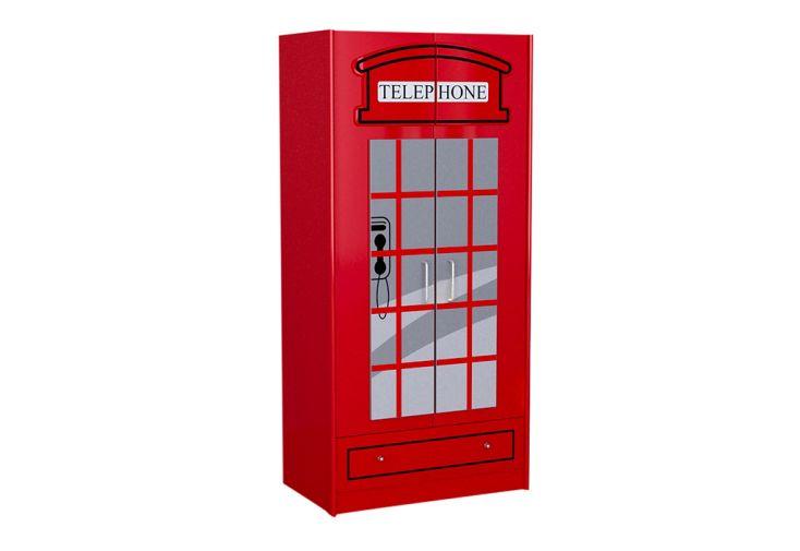 armoire enfant en bois rouge cabine téléphonique Londres Vipack 1,90 m