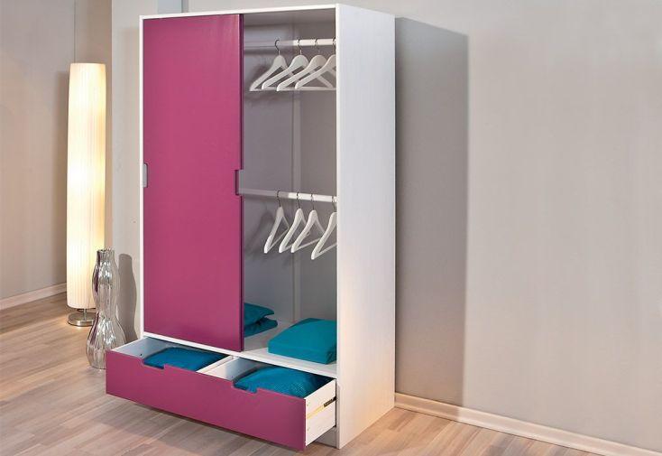 Chambre d 39 enfant kidz magenta lit armoire commode for Armoire chambre d enfant