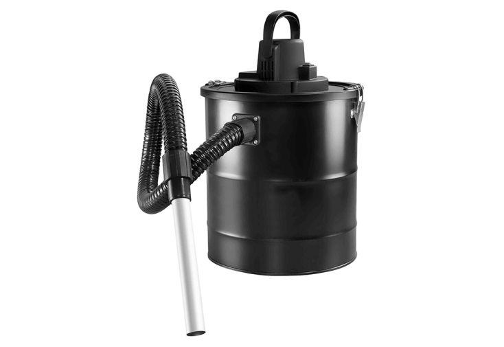 aspirateur à cendres noir en acier époxy tube 90 cm cuve 20 litres