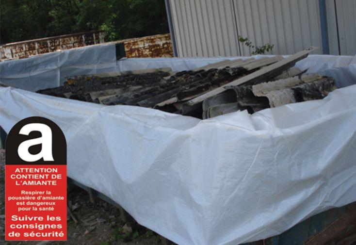Housse en polypropylène pour protection benne déchets amiante