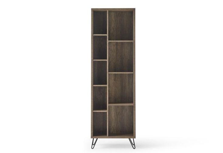 meuble de bibliothèque pour salon en bois et en métal