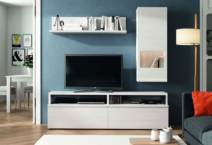 salon de télé avec plateau commode armoire et étagère 180 x 195 cm