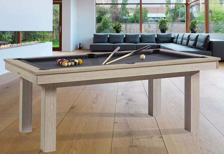billard à transformer en table grâce à un plateau en bois