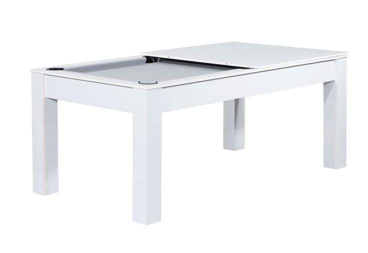 Billard en bois blanc avec plateau dinatoire pour table à manger