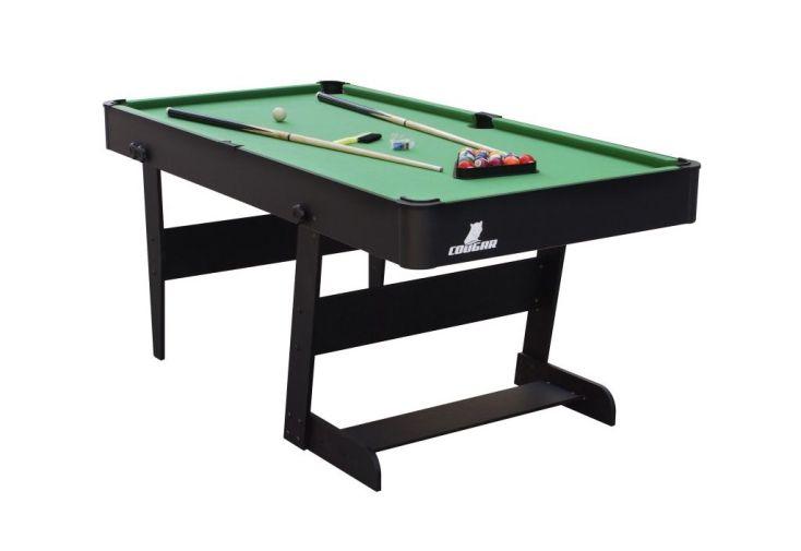 Grande table de billard en bois 1,80 m avec accessoires : boules, triangle, queues