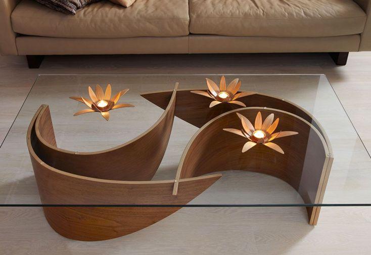 bougeoir design en bois lotus 27x8cm macmaster. Black Bedroom Furniture Sets. Home Design Ideas
