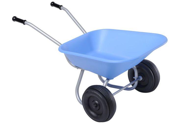 Brouette mini pour enfant 2 roues bleue haemmerlin for Brouette 4 roues pour jardin