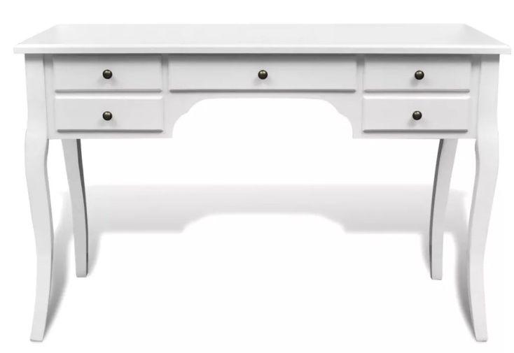 bureau en bois blanc design élégant avec 5 tiroirs de rangement