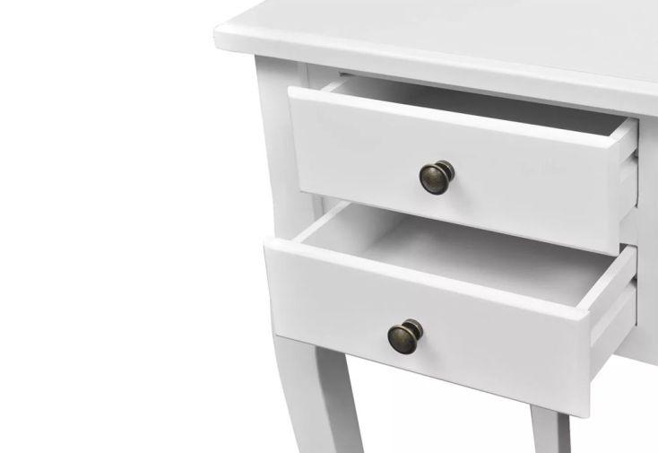 Bureau Blanc En Bois Avec Rangement Design Classique 5 Tiroirs