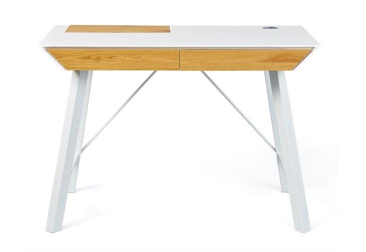 bureau en bois et en métal blanc et chêne 110 cm
