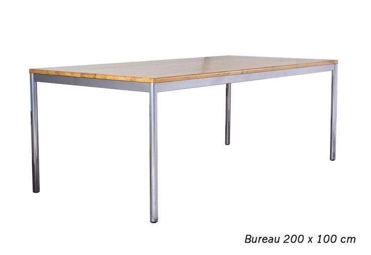 Table De Bureau En Chêne Massif Avec Pieds En Acier Chromé