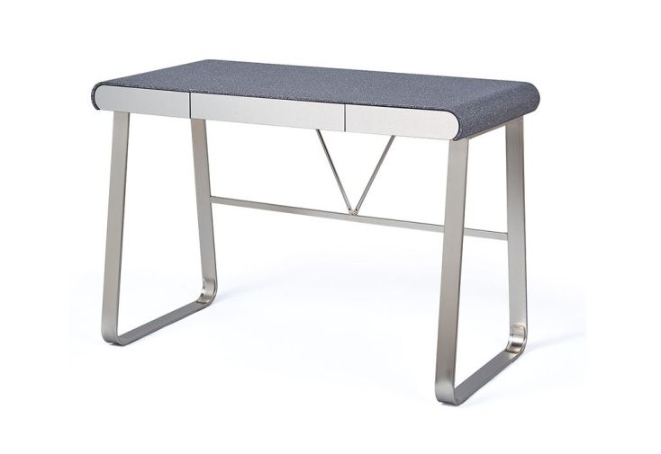 bureau en métal et en bois avec plateau effet pierre grise