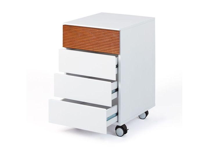 caisson de bureau en bois avec 4 tiroirs blanc et coloris bois