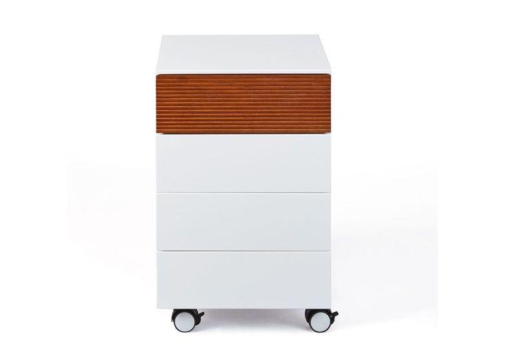 Caisson de bureau en bois roulettes tiroirs cm scandici