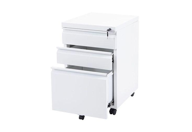 Caisson de rangement de bureau en métal 3 tiroirs Boston blanc