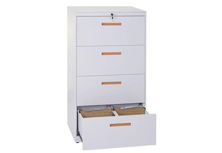 Caisson de bureau métallique 4 tiroirs dossiers suspendus Heute-Wohnen blanc