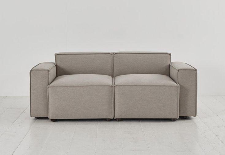 Canapé 2 places en tissu simili lin beige Swyft Home