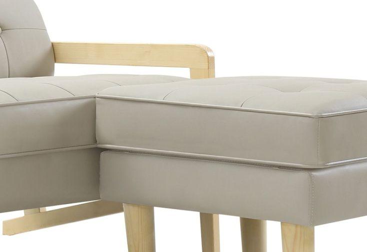 canap 3 places en simili cuir gris avec pouf wood remarquable. Black Bedroom Furniture Sets. Home Design Ideas