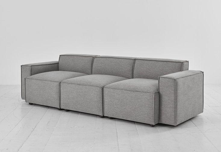 Canapé 3 places en tissu simili lin gris Swyft Home Shadow