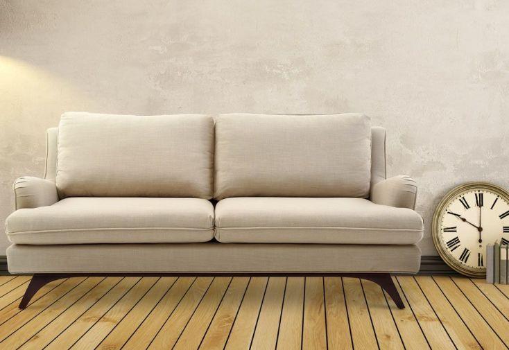 canapé en lin et bois 3 places beige