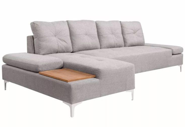 canapé d'angle 4 à 6 places avec méridienne et accoudoirs