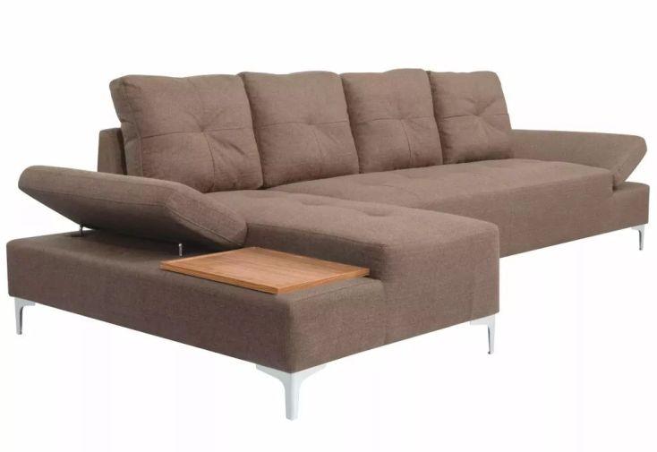 canapé d'angle en bois et en tissu avec méridienne 140 cm