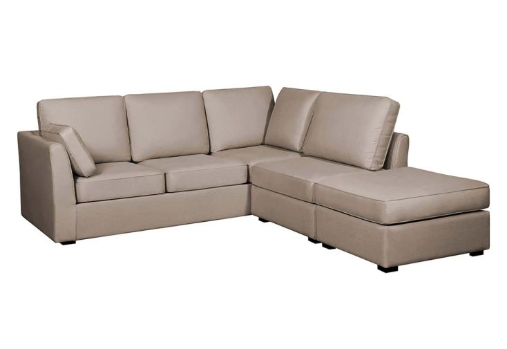 Canapé d'Angle 5 Places Réversible en Tissu Chauffeuse Pouf