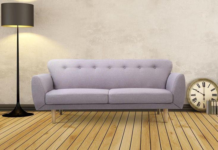 canapé convertible en lit gris clair avec revêtement en lin et structure en bois