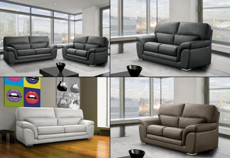 Canapé en Cuir Véritable 2 Places Clarissa 170x100x96 - 17 coloris