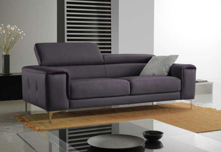 Canapé en Cuir Véritable 3 Places Luna 204x89x102cm (l,l,h) - 16 coloris