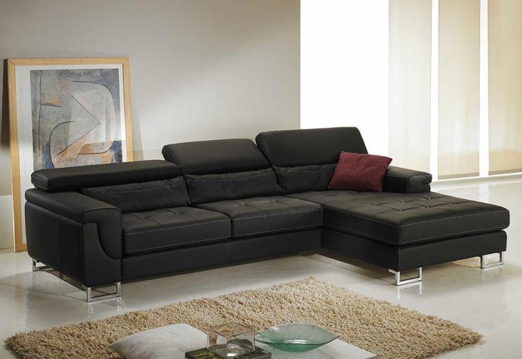 Canapé d'Angle en Cuir Reconstitué 3P Loft 277x173x75 - 2 coloris
