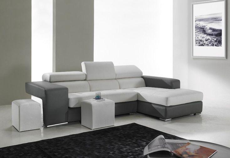 Canapé d'Angle en Cuir Véritable Trilogy 265x170x97cm(l,l,h) - 2 coloris