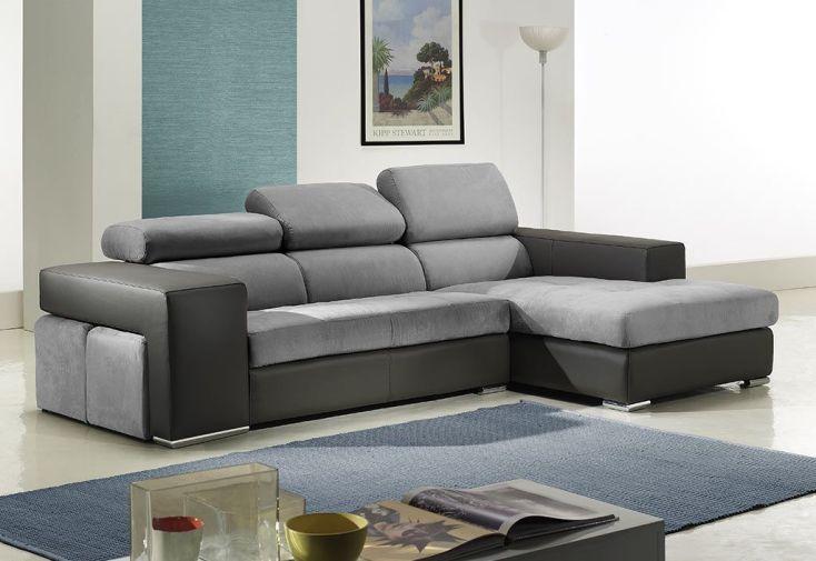 canap d 39 angle en cuir v ritable trilogy 265x170x97cm l l h 2 coloris zanisofa. Black Bedroom Furniture Sets. Home Design Ideas