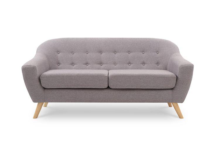 canapé scandinave en lin et bois couleur cendre 3 places