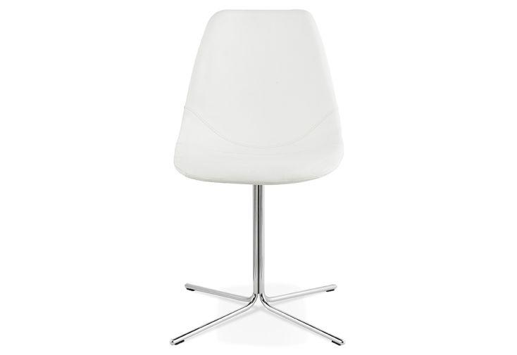 Chaise en Acier et Simili Cuir Kokoon Design Bedford Blanc et Chrome