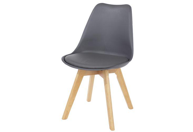 Chaise en Bois de Hêtre et Plastique Design Vicenza Asti Gris